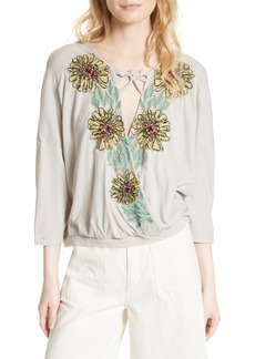 Free People Gotta Love It Embroidered Top