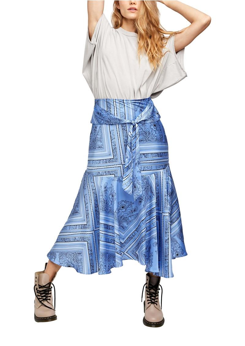 Free People Hampton Tie Front Midi Skirt