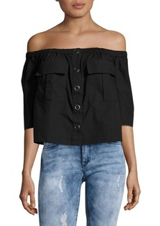 Free People Head Over Heels Button-Front Off-the-Shoulder Top