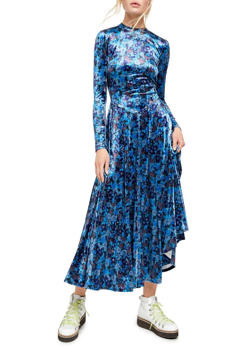 Free People Heartland Long Sleeve Velvet Midi Dress