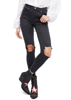 We the People by Free People High Rise Busted Knee Skinny Jeans (Carbon)
