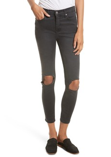 Free People High Rise Busted Knee Skinny Jeans (Carbon)