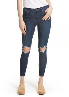 Free People High Rise Busted Knee Skinny Jeans (Dark Blue)