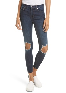 Free People High Rise Busted Knee Skinny Jeans (Dark Blue)