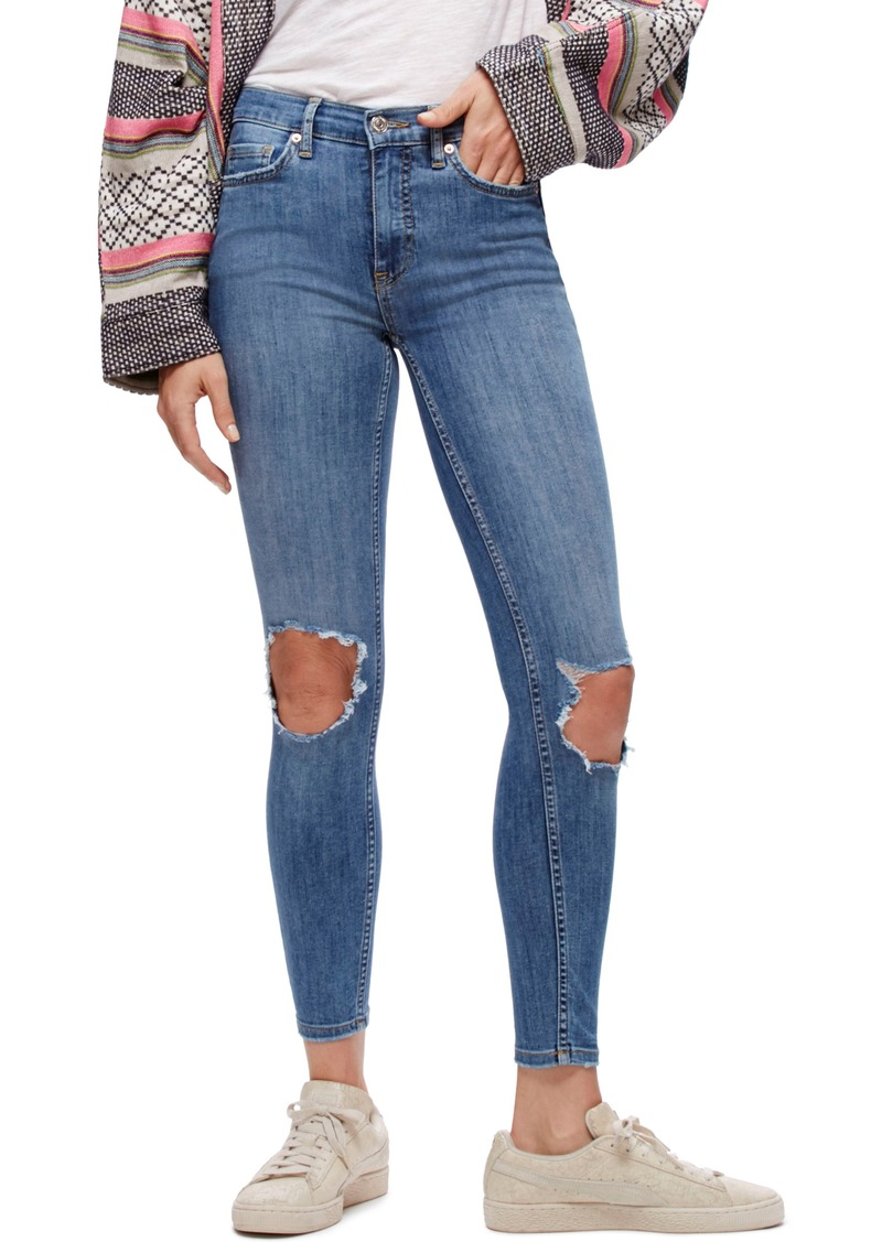 194f07a1247b6 We the People by Free People High Rise Busted Knee Skinny Jeans (Light Denim )
