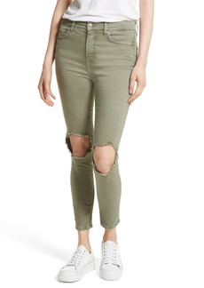 We the People by Free People High Rise Busted Knee Skinny Jeans (Moss)