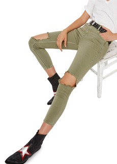 Free People High Rise Busted Knee Skinny Jeans (Moss)