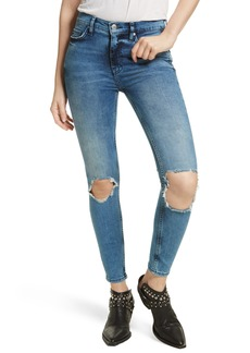 Free People High Rise Busted Knee Skinny Jeans (Turquoise)