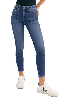 Free People High Waist Raw Hem Ankle Denim Leggings (Capri Blue)
