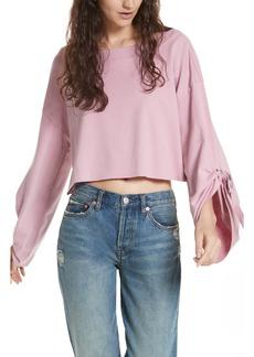 Free People Holala Statement Sleeve Crop Sweatshirt