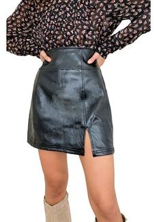 Free People Holding Onto A Dream Coated Denim Miniskirt