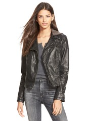 Free People Hooded Faux Leather Moto Jacket