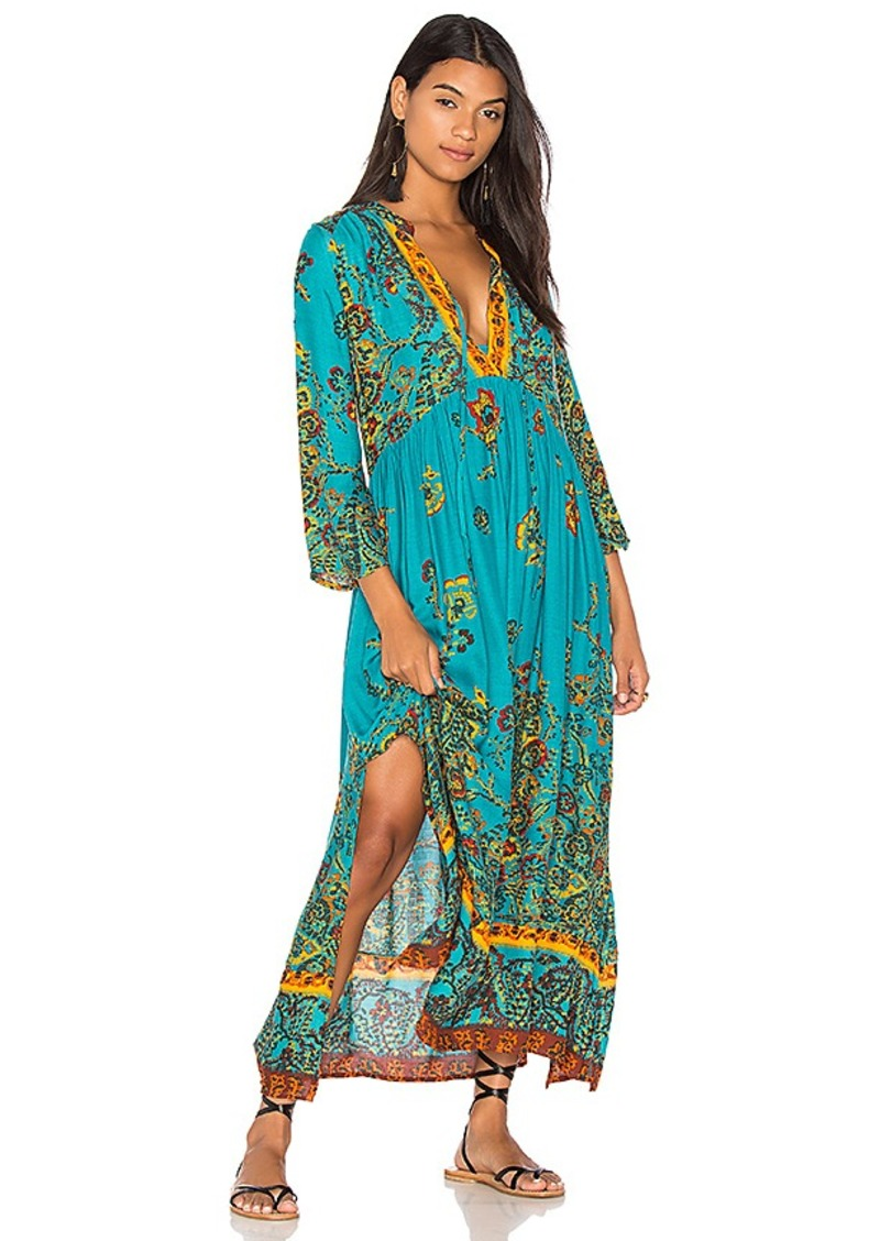 Free People If You Only Knew Midi Dress in Green. - size M (also in S,XS)