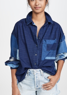 Free People Indigo Sky Button Down Shirt