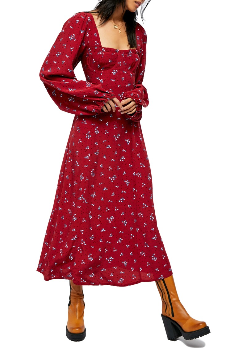 Free People Iris Floral Long Sleeve Midi Dress