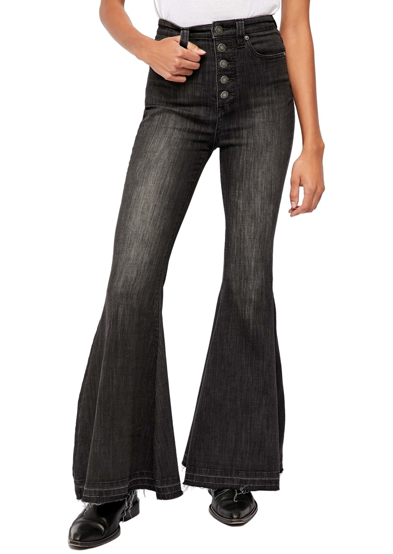 Free People Irreplaceable High Waist Flare Jeans (Galaxy Black)