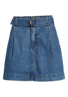 Free People Jade Belted Denim Miniskirt