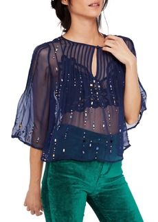 Free People Jewel Box Embellished Sheer Top