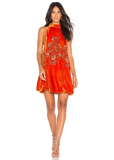 Free People Jills Sequin Swing Dress in Orange. - size L (also in M,S,XS)