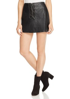 Free People Join Hands Leather Lace-Up Skirt
