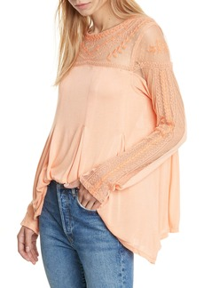 Free People Jojo Mixed Media Long Sleeve Tee