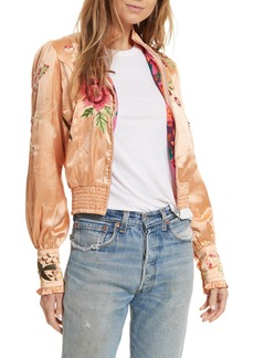 Free People Just Peachy Silk Bomber Jacket