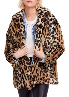 Free People Kate Leopard Print Faux Fur Coat