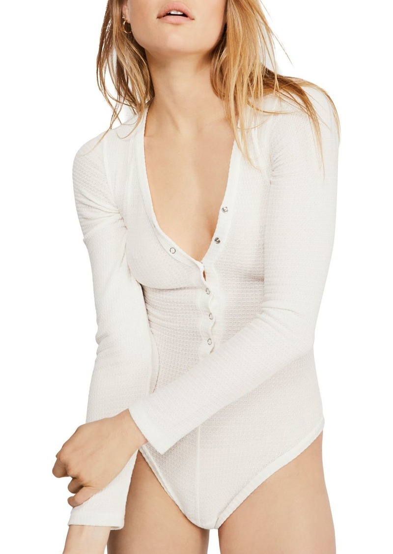 Free People Keep Your Cool Waffle-Knit Bodysuit