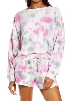 Free People Kelly Washed Tie Dye Sweatshirt & Shorts Set