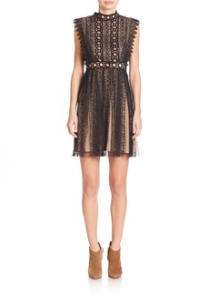 Free People Lace Cutout Halter Dress