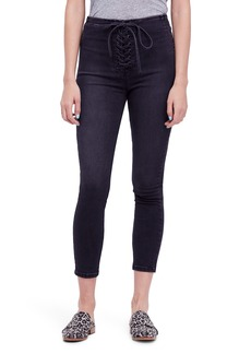 Free People Lace-Up High Waist Denim Leggings