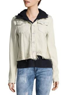 Free People Layered Distressed Denim Jacket
