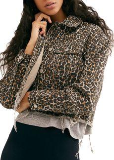 Free People Leopard Print Cropped Denim Jacket