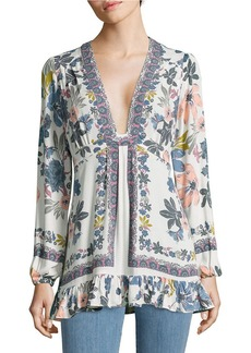 FREE PEOPLE Long Sleeve V-Neck Floral Crepe Tunic