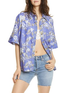 Free People Love Letters Button Front Shirt