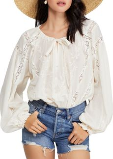 Free People Maria Maria Lace Peasant Top