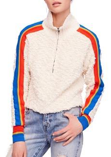 Free People Marshmallow Stripe Half Zip Sweater