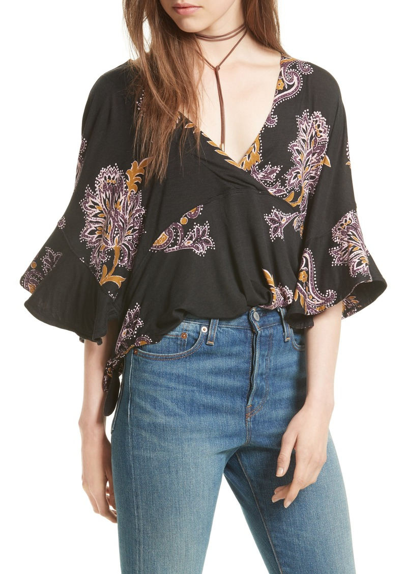 Free People Mauie Wowie Palm Print Top