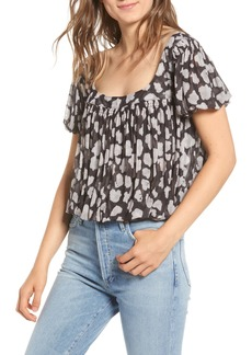 Free People Megs Leopard Print Blouse