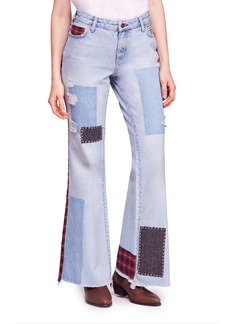 Free People Mix Plaid Slim Flare Jeans