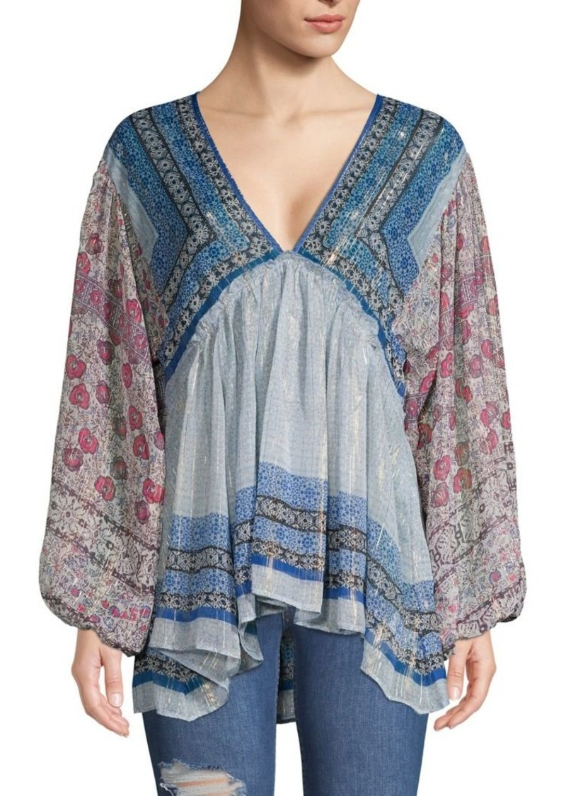 Free People Mixed-Print V-Neck Top
