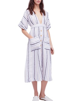 Free People Monday Stripe Linen Blend Midi Dress