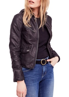 Free People Monroe Hooded Faux Leather Moto Jacket