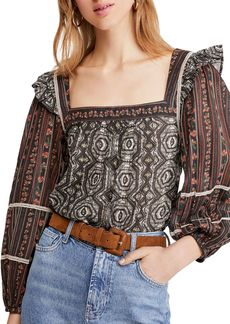 Free People Mostly Meadow Blouson-Sleeve Top