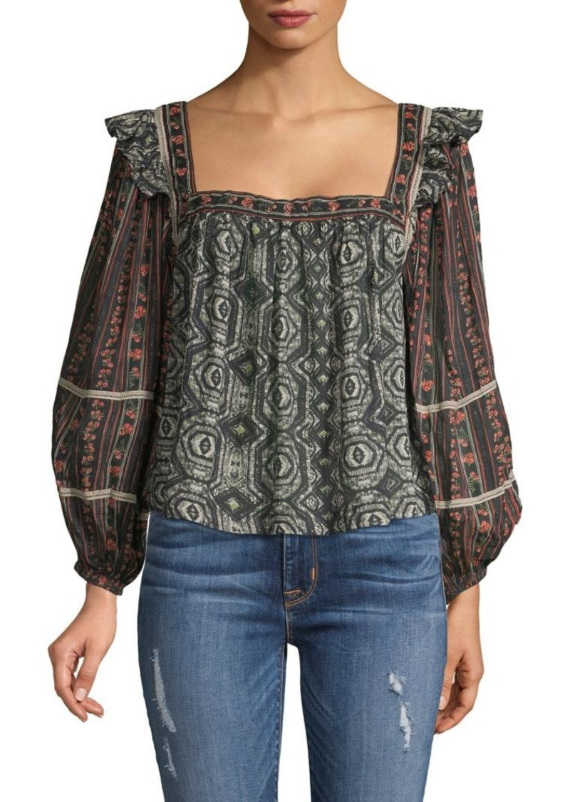 Free People Mostly Meadow Patchwork Print Top