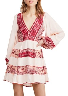 Free People My Love Printed & Textured Mini Dress