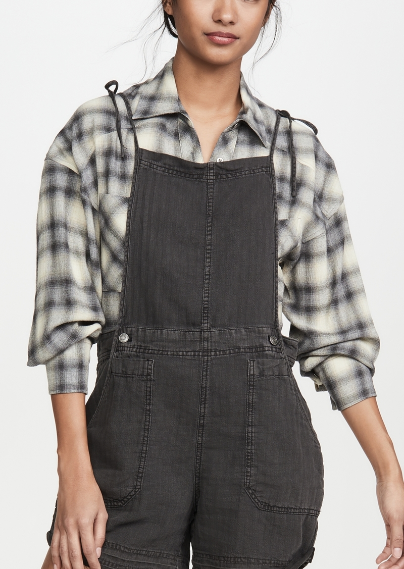 Free People Natural Sights Linen Overalls