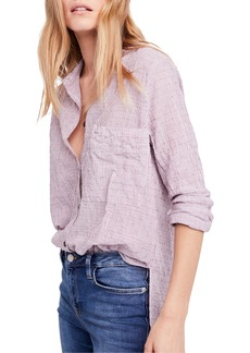 Free People No Limits Stripe Stretch Cotton Shirt