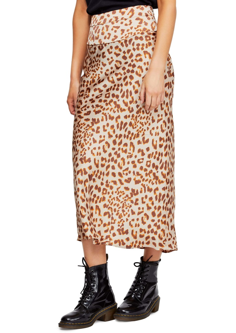 Free People Normani Leopard Print Bias Cut Midi Skirt
