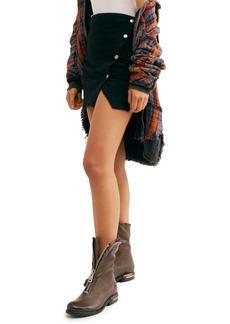 Free People Notched Side Button Denim Miniskirt